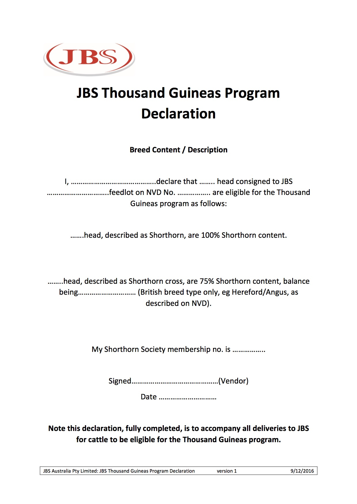 New TGS Breed Verification Form | Shorthorn Beef
